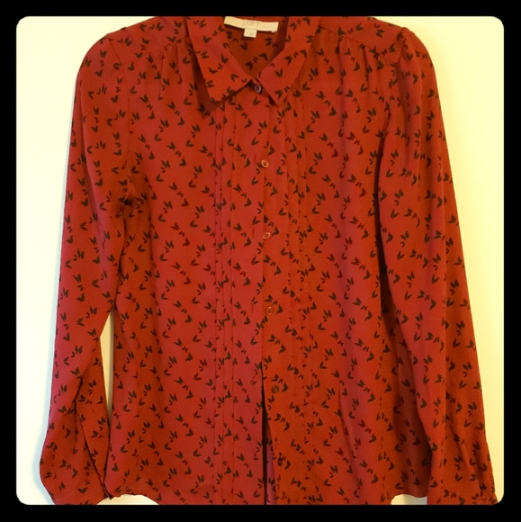 LOFT Tops - Burgundy button down blouse with bird print